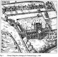 Glasney College, Penryn. c1580. Glasney College was an ecclesiastical college complex set within a fortified enclosure in Penryn, Cornwall and saw use from 1265, until its dissolution in 1548. Nothing remains of it. Many miracle plays and other texts in Cornish were written here. The reformation did for Cornish language and Cornish culture. <:((((><( Falmouth, Reformation, Family History, Cornwall, Old Photos, Plays, Texts, Language, College