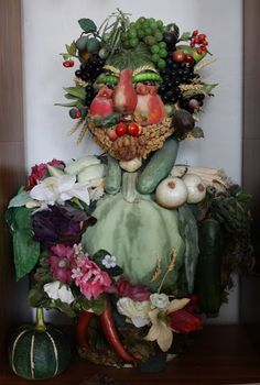"Great edible art activity!   3D version of ""Vertumnus"" by Giuseppe Arcimboldo."