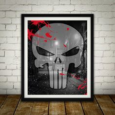 The Punisher Logo - Digitally Painted Tribute  - PRINTED - BUY 2 Get 1 FREE by ShamanAlternative on Etsy