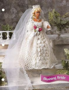 free barbie crochet gowns | Annies Attic 5 Crochet Patterns Book Victorian Fashion Doll Barbie