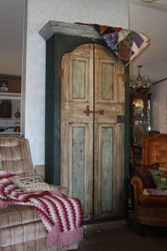 Beautiful handcrafted tall cabinet - reclaimed farmhouse timbers and door - rustic hardware - fully finished interior