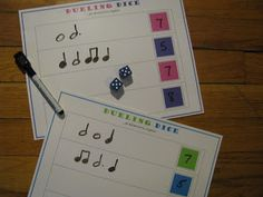 Notable Music Studio: Dueling Dice! - this piano teacher has lots of other games on her website - free PDF's that are suitable for the classroom