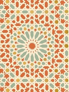 Schumacher Wallpaper – Nasrid Palace Mosaic – Persimmon  $158.75