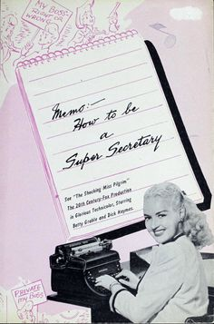 """Titled Memo: How To Be A Super Secretary , this booklet showcases the work of Miss Olga Elkouri, """"renowned typist and secretary.""""  Published in 1945."""
