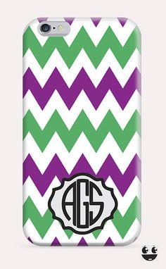 iPhone Case iPhone 4 Case & iPhone 4S, Case iphone 5 Case & iPhone 5S Case, iPhone 5C Case, iPhone 6 Case & iPhone 6, Plus  Violet Green Chevron Monogram