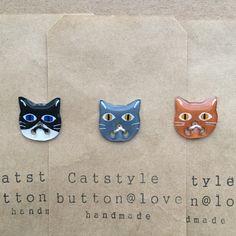cat button ねこボタン 猫 handmade ハンドメイド
