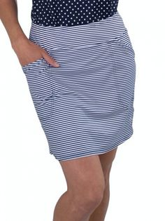 JoFit Ladies Mina (Long) Golf Skorts - Cape May (Cape May Stripe)