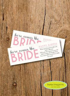 """INSTANT UPLOAD Bridal Shower Game Here Comes the Bride """"Panty Raffle"""" - Pink and Ivory -  Print Your Own by PaperEtiquette on Etsy"""