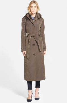 DKNY Hooded Double Breasted Maxi Trench Coat available at ...