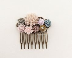 Taupe Wedding Hair Comb Mauve Pink Blush Gray Blue Lilac Ivory Plum Purple Affordable Bridal Hair Accessories Floral Flower Head Piece