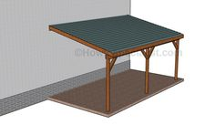 This step by step woodworking project is about free single lean to carport plans. I have designed this sturdy carport with a lean to roof, so you can protect your vehicle from the weather elements. Lean To Carport, Building A Carport, Lean To Roof, Carport Plans, Double Carport, Garage Double, Pergola Carport, Curved Pergola, Pergola Plans