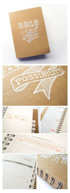 2013 planner, weekly & monthly, wirebound with screenprinted cover, cute 2013 planner. $35.00, via Etsy.