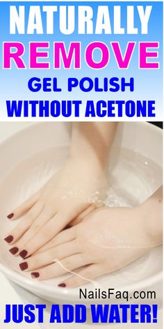 Remove gel polish at home without acetone. Gel polish will get softer and loosen from your natural nails so you can peel it away easily. Learn the complete way of removing gel polish naturally at home or anywhere that you can have access to hot water. #gelnailremoval diy #removegelpolishathome #howtoremovegelpolishathome #removinggelnailpolish #howtoremovegelpolish #howtoremovegelnailpolish #removinggelpolish Soak Off Acrylic Nails, Take Off Gel Nails, Gel Toe Nails, Remove Acrylic Nails, Acrylic Nails At Home, Gel Nails At Home, Gel Manicure, Gel Nail Polish Remover, Remove Gel Polish