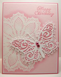 Su's Hello Doily stamp with Cheery Lynn Designs Small Lace Butterfly with Angel Wings die Pretty Cards, Cute Cards, Diy Cards, Butterfly Cards, Pink Butterfly, Card Tags, Creative Cards, Greeting Cards Handmade, Scrapbook Cards