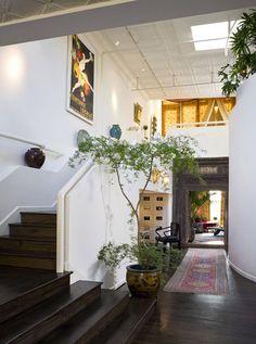 hardwood color  entry, turkish rug, large plant, Chelsea loft, via Curbed NY