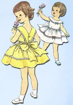 1960s Vintage Simplicity Sewing Pattern 3458 Toddler Girls Party Dress Size 6…