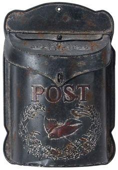 "Metal Vintage Black Post Box Dimension 10.5"" x 3.25"" x 15.5"" H"