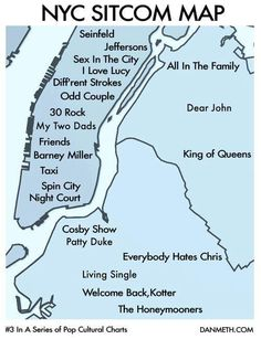 NYC Sitcom Map - i used to pass the All In The Family house almost daily on my way to jhs is the late 89s/early 90s
