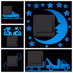 Blue-light Luminous Switch Sticker Home Decor Cartoon Glowing Wall Stickers Dark Glow Decoration Sticker, Cat/Fairy/Moon Stars. Diy Wall Stickers, Floor Stickers, Window Stickers, Pvc Material, Rooms Home Decor, Vinyl Art, Stars And Moon, Kids Room, Light Blue