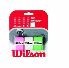 Wilson Pro 3-Pack Overgrip (Assorted) by Wilson. $5.09. For the player that wants to spice up the grip of their favorite racquet the popular Wilson Pro Overgrip now comes in an assorted 3pack allowing you more options Designed for a tacky feel this overgrip comes in at only 055mm in thickness for that pro player preferred feel without rounding the handle This assorted pack is a great option for players that want to easily distinguished between multiples of the...