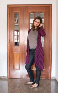 Maxi cardigã e mix de estampas - listras e oncinha / Maxi cardigan and mixing stripes with animal print