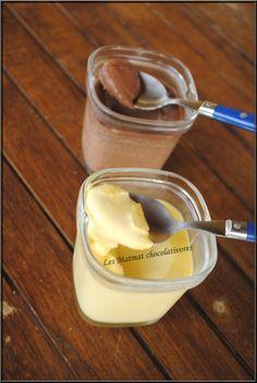 Une recette de Chocoaddict. Ingrédients: pour 6 pots au chocolat blanc:- 250ml de lait - 90g de chocolat blanc - 1 briquette de crème liquide - 2 œufs - 70g de sucre pour 6 pots au chocolat noir:...