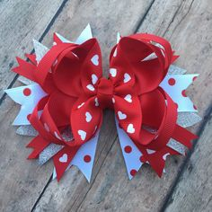 Valentines Day Bow - red and white Hair Clip - sparkle bow - Heart bow - Valentines Day bows - red hair bow - boutique bow - by BBgiftsandmore on Etsy
