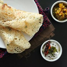 Gluten free Rava Dosa(Quick Indian Rice flour crepes) with Potato masala and coconut chutney. vegan recipe.
