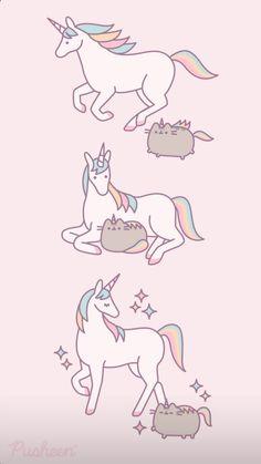 Unicornios Wallpaper, Kawaii Wallpaper, Vintage Flowers Wallpaper, Flower Wallpaper, Free Gift Certificate Template, Pusheen Cute, Cat Sketch, Naruto Cute, Cute Kawaii Drawings