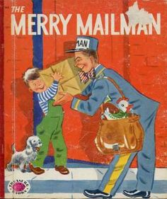 """The Merry Mailman""  Little Golden Book. Recycled Book Journal. Just $14. All Golden Books include the entire text included with the finished journal. Also? Bonus!!! I will, upon request, make a video of me reading ANY golden book to you and post said video to YouTube. Just make a note in checkout page. Here's a link to the Golden Book section of our website: http://bookjournals.com/journals/little-golden-books Or, you know, just click on this image. Love, Jacob"