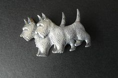 Vintage Brooch Sterling Jewelry Scotty Terrier 40s by Thriftlore, $30.00