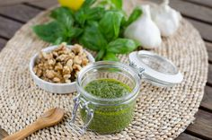 Roasted Garlic Walnut Pesto ~ ⅓ cup walnuts,  1 head roasted garlic,  1 large bunch basil, stems removed (about 2 cups)  1 tablespoon lemon juice,  ¼ cup good quality extra virgin olive oil,  sea salt to taste