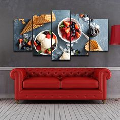 Canvas Wall Art Pictures Home Decor HD Print 5 Pieces Strawberry Ice Cream Painting Modular Cold Snacks Poster Kitchen Framework Wall Art Pictures, Canvas Pictures, Framed Wall Art, Wall Art Decor, Canvas Art Prints, Canvas Wall Art, Cold Snacks, Canvas Home, Living Room Paint