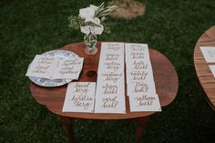 Romantic Rancho Santa Fe Real Wedding: Chris and Erica Table Signs, Tie The Knots, Wedding Signs, Real Weddings, Place Card Holders, Romantic, Sky, Creative, Tying The Knots