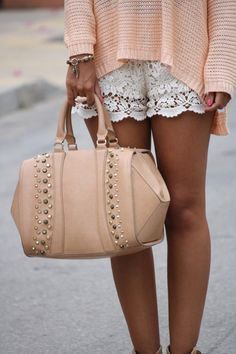 lace + peach handbag, outfit, pale pink, peach, white lace, style summer, summer clothes, lace shorts, designer clothing