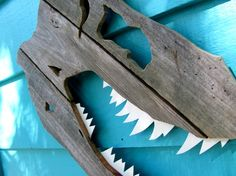 Dinosaur, T-Rex Skull made of recycled wood, on Etsy, $35.60 CAD