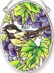 Amia Hand Painted Glass Suncatcher with Grapevine Chickadee Design, 3-1/4-Inch by 4-1/4-Inch Oval by Amia. $11.00. Comes boxed, makes for a great gift. Handpainted glass. Includes chain. Amia glass is a top selling line of handpainted glass decor. Known for tying in rich colors and excellent designs, Amia has a full line of handpainted glass pieces to satisfy your decor needs. Items in the line range from suncatchers, window decor panels, vases, votives and much more.