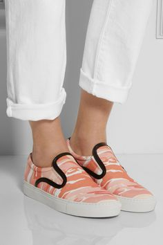 Mother of Pearl|Achilles camouflage-print canvas slip-on sneakers|NET-A-PORTER.COM