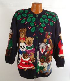 Ugly Christmas Sweater Vintage Cardigan Teddy Bears and Holly Tacky L on Etsy