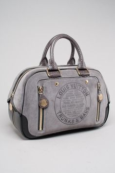 LOUIS VUITTON LIMITED EDITION GRAY GLOSHOF GM ALLIGATOR TRIM RUNWAY COLLECTION BOWLING HANDBAG