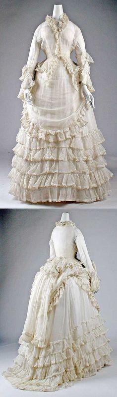 Afternoon dress, ca. 1871. European, cotton.