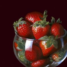 "Daily+Paintworks+-+""Strawberries+in+Brandy+Glass""+-+Original+Fine+Art+for+Sale+-+©+Nance+Danforth"