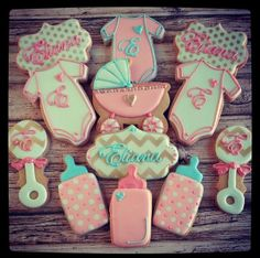 Gorgeous baby shower cookies by The Baked Equation