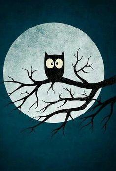 Owl and moon illustration.awake at night but silent Art And Illustration, Halloween Illustration, Art Rupestre, Art Mignon, Halloween Owl, Halloween Magic, Halloween Printable, Halloween Queen, Halloween Drawings