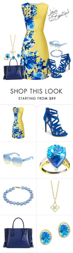 """""""Blue and Yellow Dress"""" by snowflakeunique ❤ liked on Polyvore featuring Precis Petite, Jessica Simpson, Marc by Marc Jacobs, DaVonna, Longchamp and Effy Jewelry"""