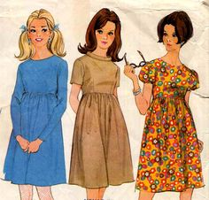 Vintage 1960s High Waist Dress Sewing Pattern by allsfairyvintage, $5.00