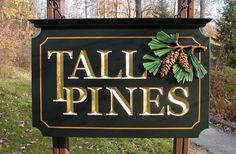 This sign artwork was hand sculpted, while the text was hand carved and gilded with gold. Property Signs, Cabin Signs, Cottage Signs, Country Signs, Led Signs, Signage Design, Store Signs, Hand Painted Signs, Wooden Signs