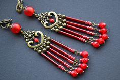 Dangle beaded red chandelier non pierced earrings - ein Designerstück von Victoria-Davidovich bei DaWanda