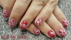 Young nails gel  Valentine's nails  Red nails with white heart art Nails by jackie
