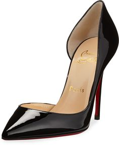 Christian Louboutin Iriza Patent Open-Side Red Sole Pump, Black on shopstyle .com